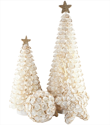 Clamrose Shell Cone Tree w/Pearls (White/Gold)